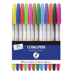 12 BALLPENS ASST'D COLOURS