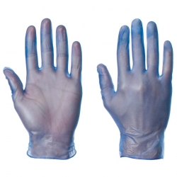 BLUE VINYL GLOVES POWDERED 100