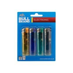 BULL BRAND 4PK ELECTRONIC LIGHTERS