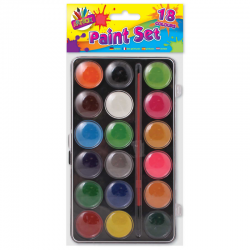18 COLOUR PAINT BOX + PAINT BRUSH