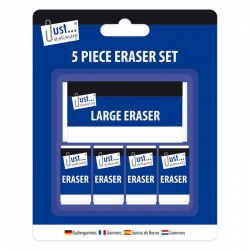 5PK WHITE ERASERS (4SMALL+1LARGE)