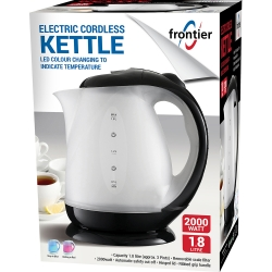 1.8LTR 2000W ELECTRIC CORDLESS KETTLE BLACK LED COLOUR CHANGING