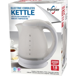 1.8LTR 2000W ELECTRIC CORDLESS KETTLE WHITE LED COLOUR CHANGING