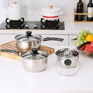 Set of 3 Stainless Steel Non Stick Saucepans Cookware Cooking Pots Pan With Lids