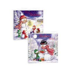 FAMILY SNOWMAN  - 10 SQUARE CARDS