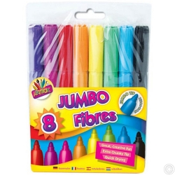 8 Jumbo Fibre Colouring Pens