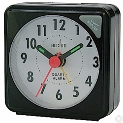 ACCTIM INGOT QUARTZ ALARM CLOCK - BLACK