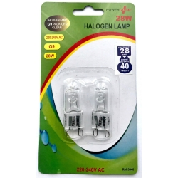 G9 2pack Halogen Lamp 28=40W 240V AC