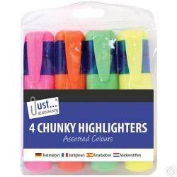 4 Chunky Highlighters Assorted Neon Colours