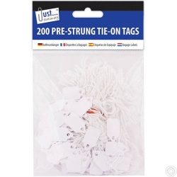 200 Pre Strung White Tags 13x20mm