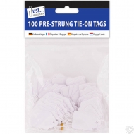 100 Pre Strung White Tags 25x39mm