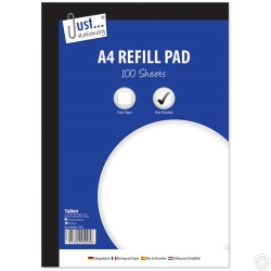 A4 PLAIN REFILL PAD 100 53GSM SHEET SIDE BOUND