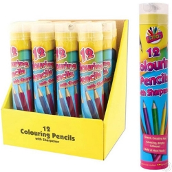 12 Full Size Colouring Pencils + Sharpener