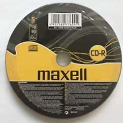 MAXELL CDR PACK OF 5 SHRINK WRAP 5 PACK