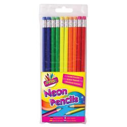 10 Neon Rubber Tip HB Pencils