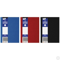 A5 Ruled Hardback Book Red, Blue, Black