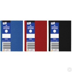 A6 Ruled Hardback Book Red, Blue, Black