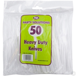 Cutlery Heavy Duty Plastic Knives Clear 50pcs