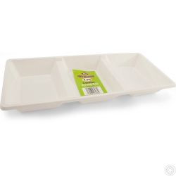 Plates Plastic Serving tray 3 comp White 38cm