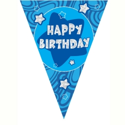 Blue Holographic Happy Birthday Banner