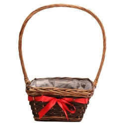 25cm Langton Square Basket W/Ribbon in Stain