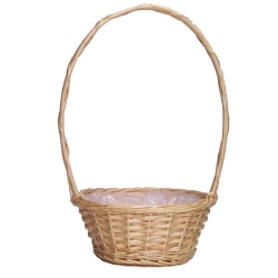 "14"" White Round Florida Basket With Handle"