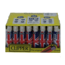 CLIPPER 40PCS LIGHTER ASSORTED DESIGN - UK FLAG