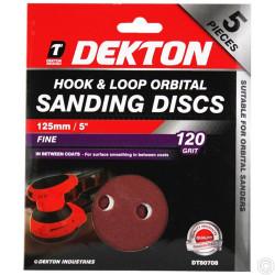 DEKTON 5PC HOOK AND LOOP ORBITAL SANDING PADS