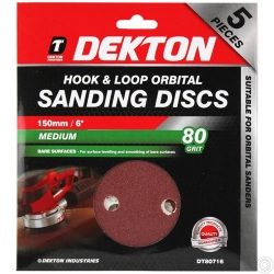 DEKTON 5PC HOOK AND LOOP ORBITAL SANDING PADS