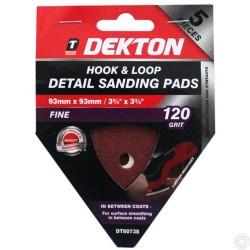 DEKTON 5PC HOOK AND LOOP DETAIL SANDING PADS