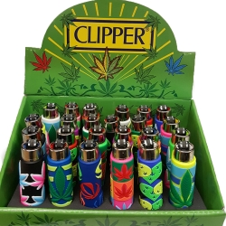 CLIPPER POP COVER LIGHTERS 24PK - LEAVES