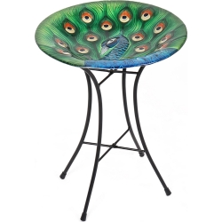 Glass Peacock Bird Bath