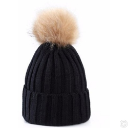 WOOLEN HAT WITH BOBBLE - BLACK