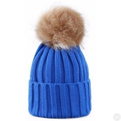 WOOLEN HAT WITH BOBBLE - BLUE