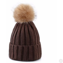 WOOLEN HAT WITH BOBBLE - BROWN