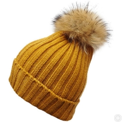 WOOLEN HAT WITH BOBBLE - ORANGE