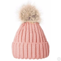 WOOLEN HAT WITH BOBBLE - PINK