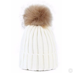 WOOLEN HAT WITH BOBBLE - WHITE