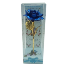 METAL FLOWER IN CLEAR DISPLAY BOX - BLUE
