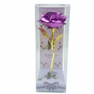 METAL FLOWER IN CLEAR DISPLAY BOX - MAGENTA