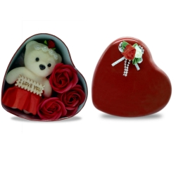 BEAR IN HEART SHAPE GIFT TIN - RED