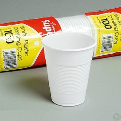 WHITE PLASTIC DRINKING CUPS 100PK